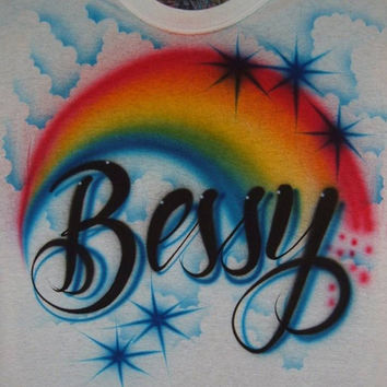 Airbrush Rainbow/Clouds T Shirt With Personalized Name
