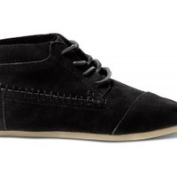 TOMS Shoes Black Suede Tribal Boots Women's Lace-up Shoes,