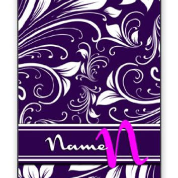 Women's Personalized Custom DIY Floral Monogram Initial Name Apple iPhone 5C Quality Hard Snap On Case for iPhone 5c/5C - AT&T Sprint Verizon - White Case