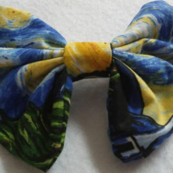 "Van Gogh into my Wardrobe,"" the Starry Night inspired hair bows perfect for adults, teens and children"