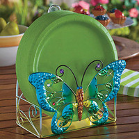 Colorful Metal Butterfly Paper Plate Holder Decorative Outdoor Party Picnics