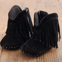 Moccasin Moccs born Baby Girl Boy Kids Prewalker Solid Fringe Shoes Infant Toddler Soft Soled Anti-slip Boots Booties 0-1Year