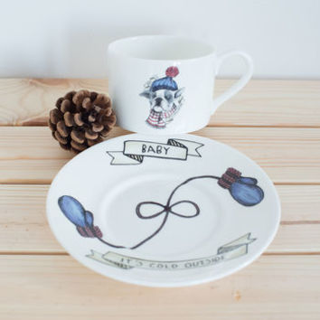 French Bulldog Teacup And Saucer With Hidden Message