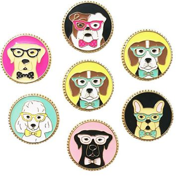 Trendy Cartoon Animal Pug Dog Brooch for Women Enamel Pin Denim Jacket Hat/bag Lapel Pins Shirt Round Brooches Badges Jewelry Q217 AT_94_13