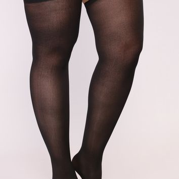 Feel Your Way Thigh High Stockings - Black