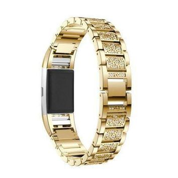 CREYRQ5 Smart Watches MM&I Luxury Crystal Stainless Steel Metal Wristband Strap Band For Fitbit Charge (Gold)