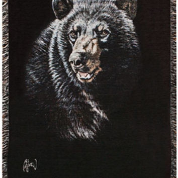 Black Bear Afghan Throw Blanket