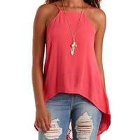 Coral Crochet-Back Flyaway High-Low Tank Top by Charlotte Russe
