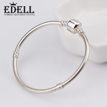 EDELL Authentic 100% 925 Sterling Silver Classic chain head Snake chain Bracelet DIY Bangle send woman Birthday gift