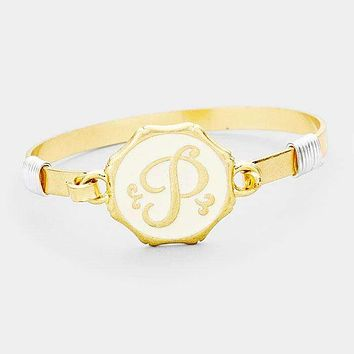 'P' Acrylic Monogram Metal Disc Hook Bracelet
