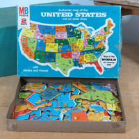 Milton Bradley United States Map Jigsaw Puzzle * World Map on Reverse Side * Vintage 1975 * Complete