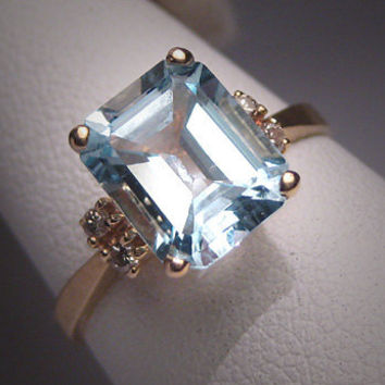 Antique Vintage Aquamarine Diamond Wedding Ring Deco H. Stern Styling