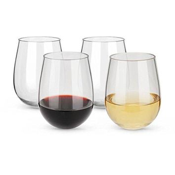 Opulic Unbreakable Stemless Wine Glasses with Thick Bottom 15oz  Set of 4 Wine Glass Tumbler Made of 100 Shatterproof Plastic Suitable for Wine and Drinks Perfect for Indoor or Outdoor Parties