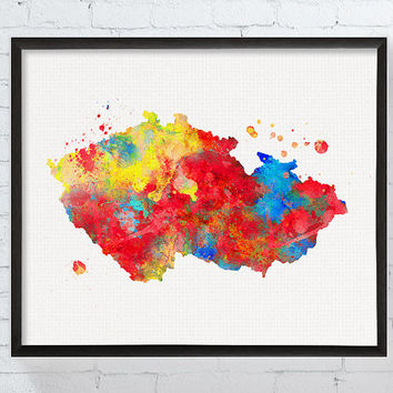 Czech Republic Map, Czech Republic Wall Decor, Travel Print, Framed Art, Custom Color, Country Map, Countries, Watercolor Map Print, Modern