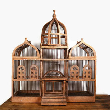 Vintage Victorian Bird Cage, Large Wooden Bird House, Antique Bird Cage, Bird House, Decorative Bird Cage, Rustic Cage