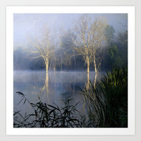 Lost In The Mammoth Paradise. Foggy sunrise at the laggon Art Print by Guido Montañés
