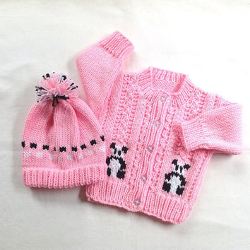 Baby girl knitted cardigan and hat set -  6 to 12 months - Baby clothing - Infant sweater set - Pink panda sweater set