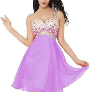 Women's One Shoulder Homecoming Dress with Beadings Short Prom Gown