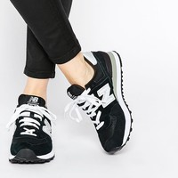 New Balance | New Balance 574 Black/White Suede Trainers at ASOS