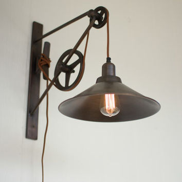 Double Pulley Wall Sconce Light