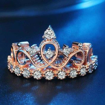 Woman's Princess Crown Design Zircon Ring