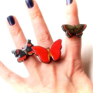 Set of three red butterfly rings/Wooden laser cut decoupaged rings/Wooden butterfly/Wood jewelry/Insects and bugs jewelry/Illustration ring