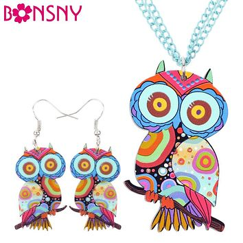Bonsny Brand Jewelry Sets Acrylic Owl Necklace Earrings Bird Choker Collar Fashion Jewelry 2016 News Spring Women Girl Gift