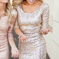 Sparkles Holiday Dress Gold