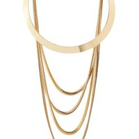 Layered Crescent & Snake Chain Necklace by Charlotte Russe - Gold