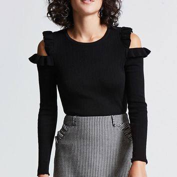 Ruffle Open-Shoulder Sweater