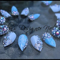 Love is Blue Wedding Stiletto Artificial Nail Art