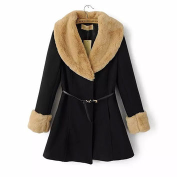 Button Long Sleeve Fur Woolen Coat With Belt
