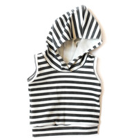 Organic Sleeveless Baby Hoodie Black Stripes