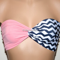 Light Pink and Black White Chevron Yoga Sport Twisted Bandeau, Swimwear Bikini Top, Twisted Top Bathing Suits, Spandex Bandeau Bikini