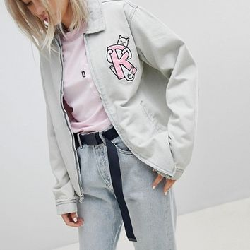 Rip N Dip Boyfriend Denim Jacket With Embroidered Logo And Contrast Gingham Lining at asos.com