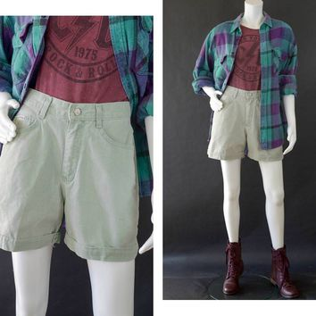 90s High Waisted Mom Shorts, Green Denim Jean Shorts, Retro High Waisted Shorts, Vintage Lee Riders Jean Shorts, Women's Size 10 Shorts