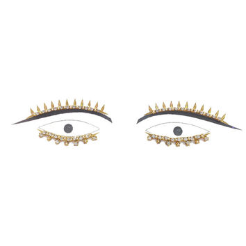 Gold Eyelash Bindi Face Jewels Gems Crystals Accessories