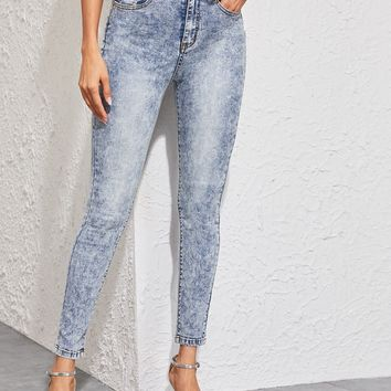Notched Waist Bleach Wash Skinny Jeans