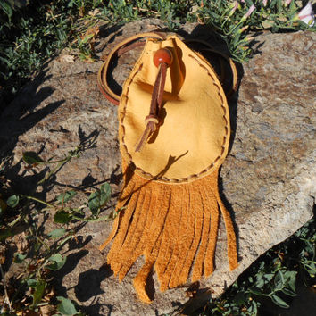 Medicine Bag, Leather Pouch with Handcut Fringe, Handmade, Handsewn, Native American, Powwow, Mountain Man, Hippie, Boho, Rendezvous