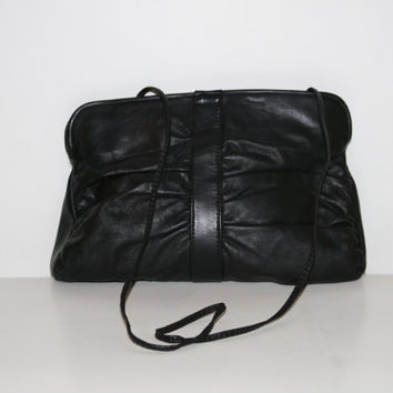 90s large clutch black leather purse goth soft grunge grunge mod / boho rockabilly club kid hipster