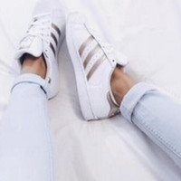 """Adidas"" Fashion Shell-toe Flats Sneakers Sport Shoes golden"