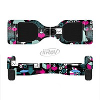 The Pink & Teal Owl Collaged Vector Shapes Full-Body Skin Set for the Smart Drifting SuperCharged iiRov HoverBoard