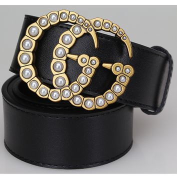 GUCCI new belt double-sided leather belt pearl smooth buckle
