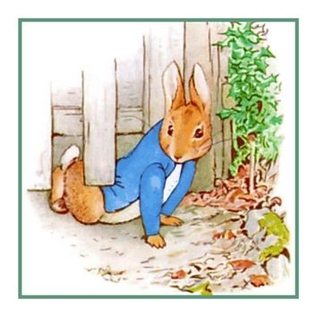 Peter Rabbit Crawls Under Fence inspired by Beatrix Potter Counted Cross Stitch Pattern