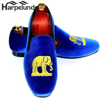 Harpelunde Blue Velvet Loafers For Men Handmade Embroidery Smoking Slippers Leisure Shoes Size 9-12