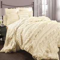 Lush Decor Belle Ruffled 4-pc. Comforter Set (White)