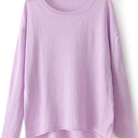 Purple Knit Long Sleeve Sweater