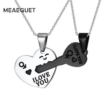 Meaeguet Couple Love Key Heart Pendant Necklace For Men Women Symbol Stainless Steel Smale Jewelry Creative Valentine's Day Gift