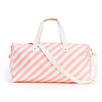 the getaway duffle bag - ticket stripe in blush