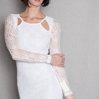 Diosa Lace Long Sleeve Bodycon Mini Dress With Cut Outs - White